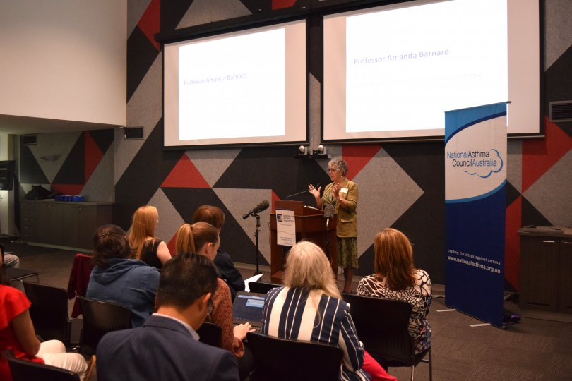 Professor Amanda Barnard speaking at the launch of the Australian Asthma Handbook.
