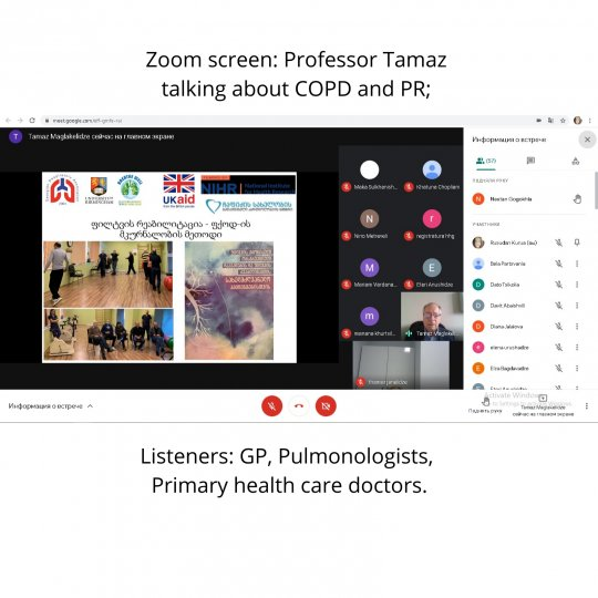 Zoom screen: Professor Tamaz talking about COPD and PR; Listeners: GP, Pulmonologists, Primary health care doctors.