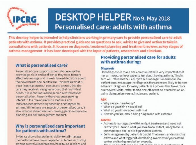 Desktop Helper No. 9 - Personalised care: Adults with asthma