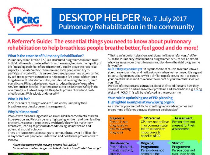 Desktop Helper No. 7 - Pulmonary Rehabilitation in the community