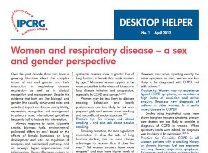 Image of Desktop Helper 1 - Women and respiratory disease – a sex and gender perspective