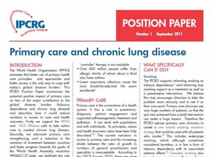 Image of Position Paper 1 - Primary care and chronic lung disease