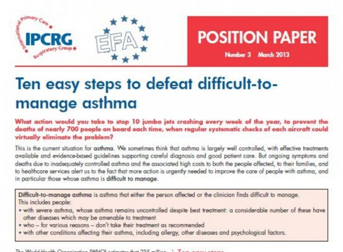 image of Position Paper 3 - Ten easy steps to defeat difficult to manage asthma Primary tabs