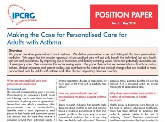 Image of Position Paper 5 - Making the case for personalised care for adults with asthma