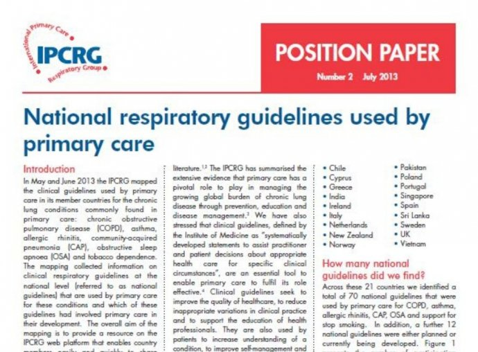 Image of Position Paper 2 - National respiratory guidelines used by primary care