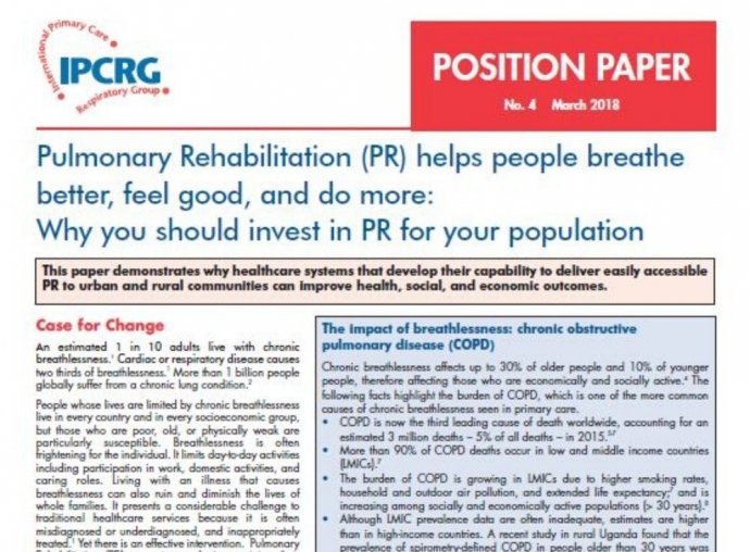 Image of Position Paper 4 - Pulmonary rehabilitation (PR) helps people breathe better, feel good, and do more: Why you should invest in PR for your population